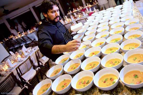 Mexican chef Javier Ornelas prepares soup for a wedding in Tulum.