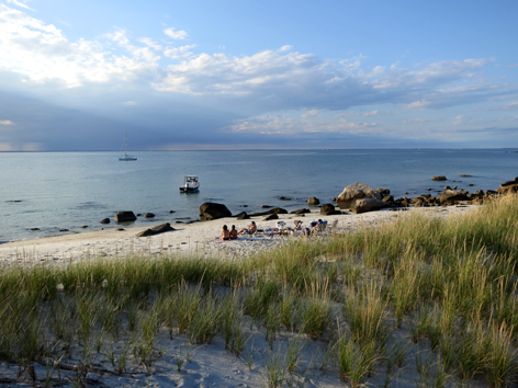 Deserted island beach off Buzzards Bay in Cape Cod