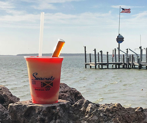 Iconic Pain in de Ass cocktail from Seacrets Jamaica in Ocean City, Maryland