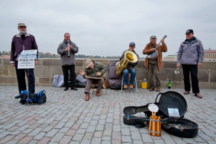 Jazz band on the Charles Bridge in Prague