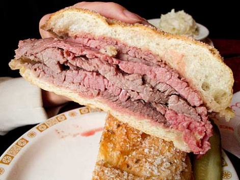 Beef on weck, a sandwich typical of Buffalo, New York
