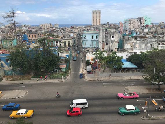 View of central Havana, Cuba, looking north toward the Malecon and Caribbean Sea.