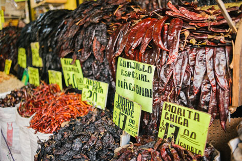 Dried chilies in La Merced Market, Mexico City
