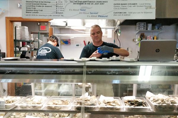 Oyster counter at Coastal Provisions in Outer Banks, NC