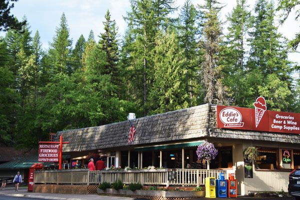 Exterior Eddie's Cafe, a great place for ice cream near Glacier National Park, Montana