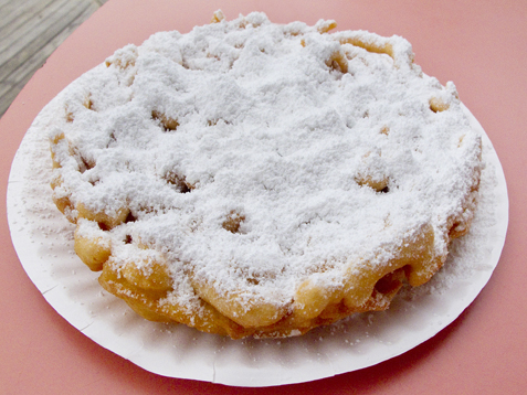 Funnel cake, a typical boardwalk dish, at the Jersey Shore