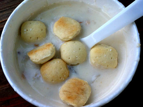 Clam chowder with oyster crackers from Green Pond Fish Market, East Falmouth, MA