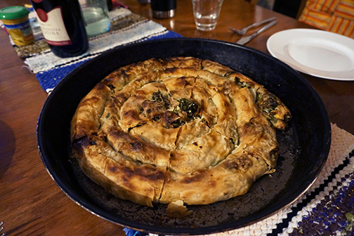 Homecooked burek, or pita, from a kitchen in Bosnia