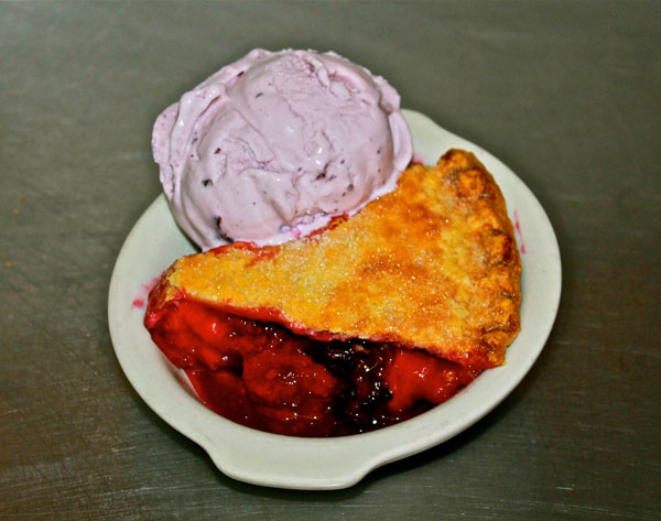 Huckleberry pie and ice cream from Two Sisters near Glacier National Park, Montana