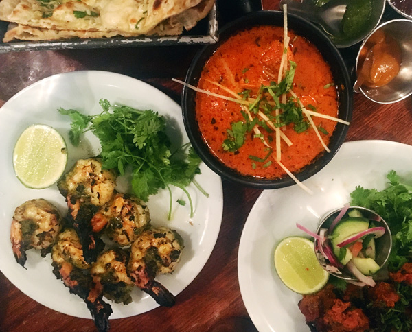 Spread of Indian dishes from Dishoom, an Indian restaurant in London
