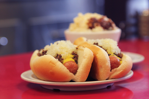 A meat chili-topped Coney dog from Virginia Coney Island in Jackson County, Michigan