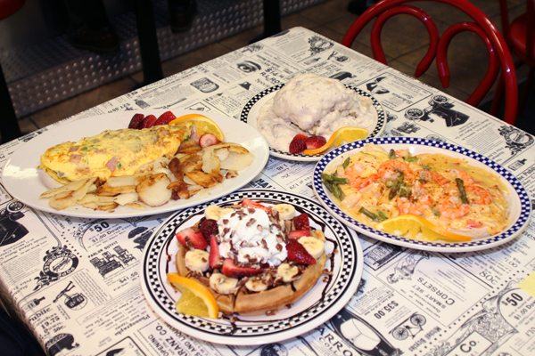 A breakfast spread of omelets and waffles at Roxy's Cafe in Jackson County, Michigan.