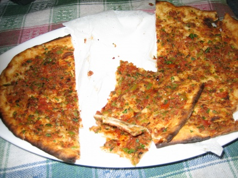 Lahmacun, or Turkish pizza, in Turkey