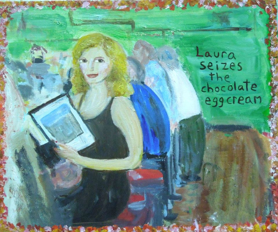 Painting of a woman sitting at a NYC lunch counter ordering egg creams, by Lisa Ferber