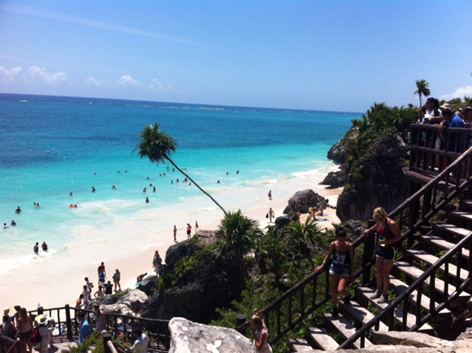 The Mayan ruins at Tulum, Mexico, overlooking the Caribbean Sea.