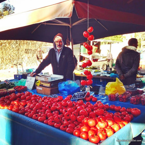 Farmers market in Athens, Greece