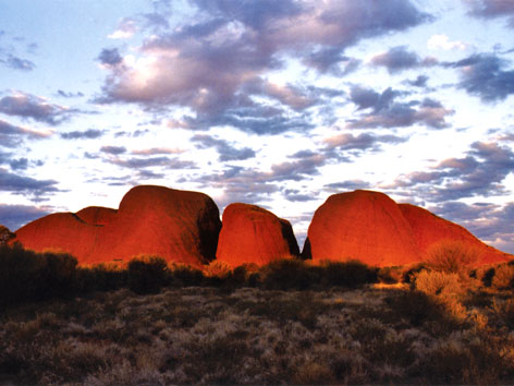 Kata Tjuta, or the Olgas, at sunset in Australia