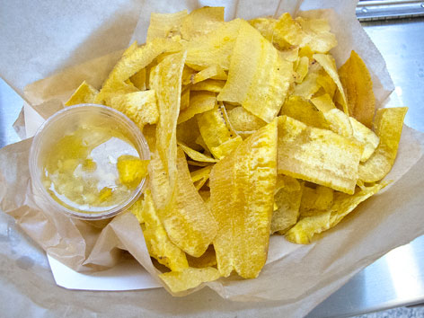 Plantain chips with mojo garlic sauce from Latin American Grill in Marlins Park, Miami