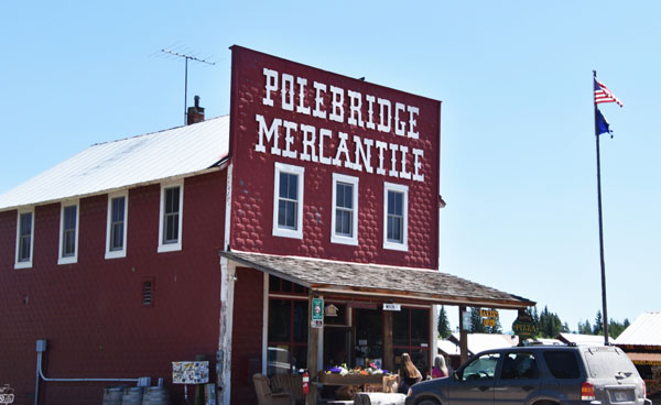 Exterior of Polebridge Mercantile, the best place for huckleberry pastries near Glacier National Park, Montana