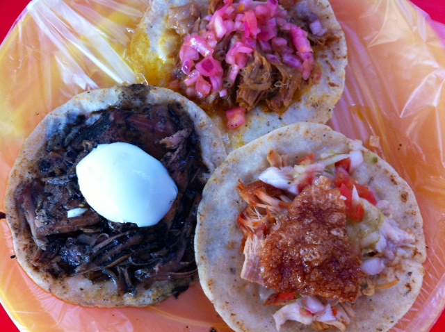 Trio of tacos from Tulum, Mexico
