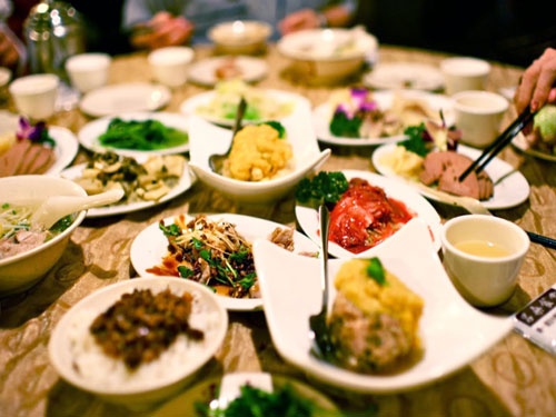 A spread of Tibetan foods on a table in Tibet
