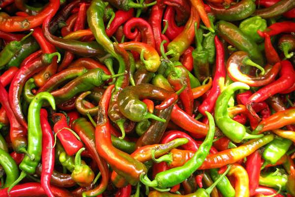 Hot green and red peppers from the farmers market.
