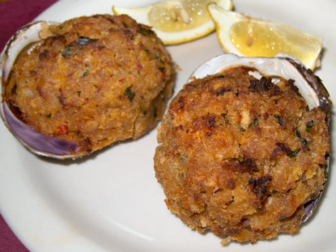 Stuffed quahog clams, or stuffies, from Providence, Rhode Island