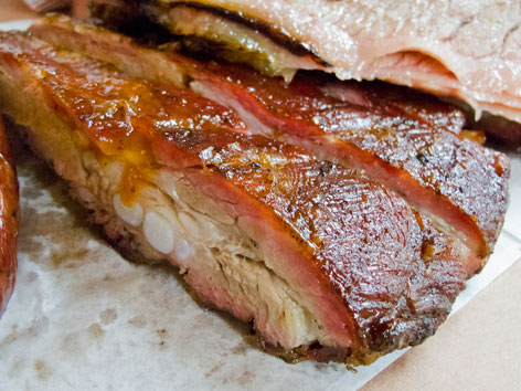 Texas-style BBQ pork ribs from Luling, Texas.