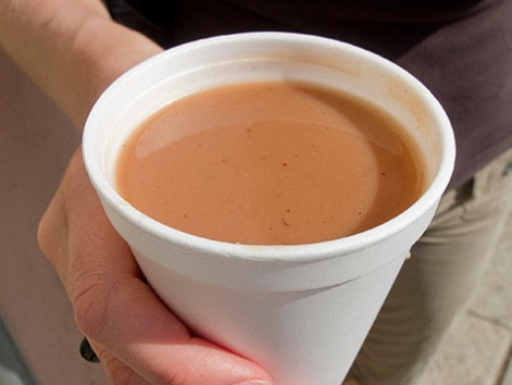 A cup of champurrado from a street cart in Oaxaca, Mexico.