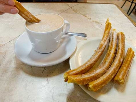 Hot chocolate with churros from Churrería el Moro in Mexico City.