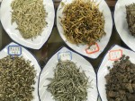 Selection of Chinese tea leaves from a Beijing tea (cha) shop.