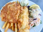 Fried fish and chips and cole slaw from Shaw's Landing in Nova Scotia.