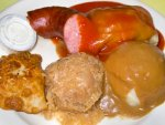 Polish food with stuffed cabbage, pierogi, and kielbasa from Polish Village Cafe in Detroit.